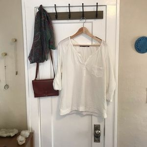Zara White Peasant Blouse Top XS